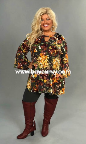 Pq-P {My Love Language} Floral Print Keyhole Tunic Extended Plus Pq