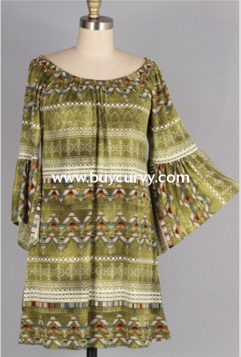 Pq-Q {Chase That Dream} Green Aztec Dress Bell Sleeves Pq