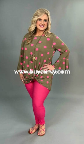 Pq-Q {Extended Plus} Tan Knot Hem With Pink Polka-Dots Pq