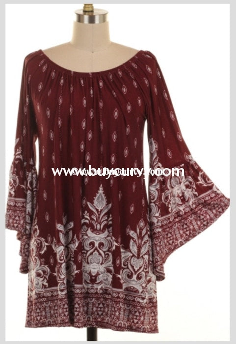 Pq-Q Wine Damask Print Tunic With Bell Sleeves Pq