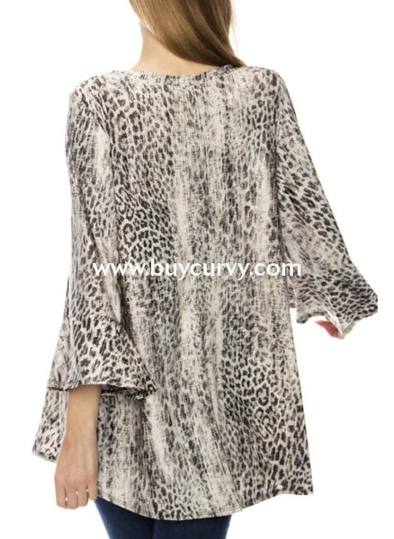 Pq-R {Consider It Done} Brown/blue Leopard Print Tunic Pq
