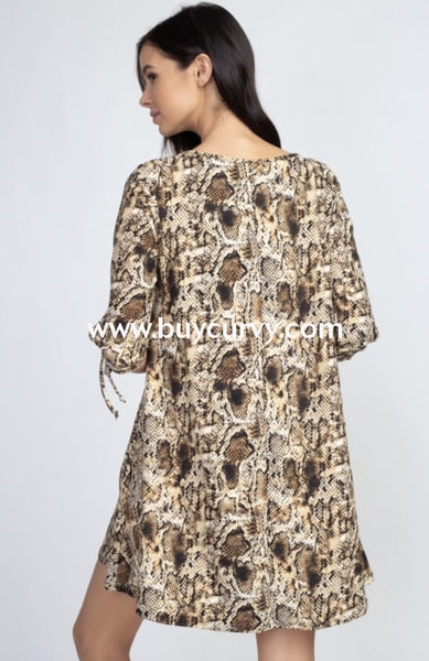 Pq-R {Forbidden Fruit} Snakeprint Dress With Tie-Sleeve Detail Pq