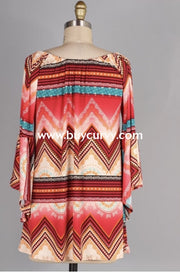 Pq-R {Hold Me Closer} Aztec Print Tunic With Bell Sleeves Pq