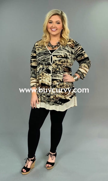 Pq-S {Dramatic Look} Animal Print Tunic With Button Detail Pq