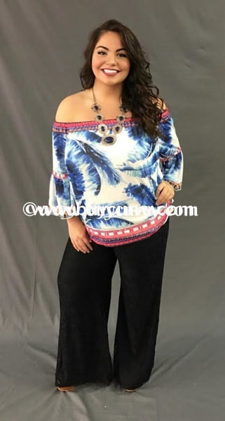 Pq-T Flying Tomato Feather Print With 3/4 Sleeves Sale!! Pq