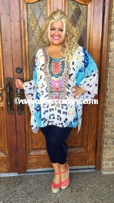 Pq-U Aqua/multi Print With Rhinestone Detail {Sale!!} Pq