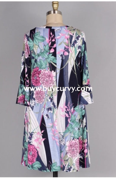 Pq-U {Bring On The Rain} Floral Print Dress With Pockets Pq