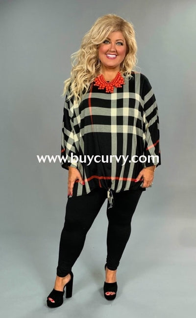 Pq-U {Forget Me Not} Black Plaid Hi-Lo Tunic With Front Tie Extended Plus Pq