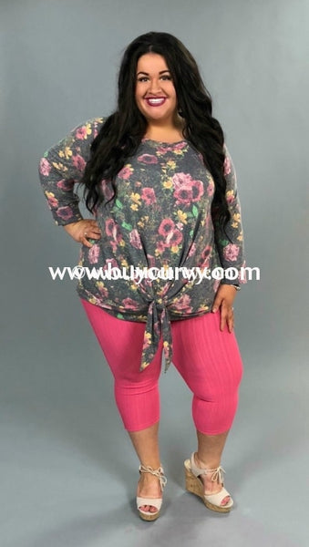 Pq-W {Once Floral} Charcoal Floral Top With Knot Hem Pq