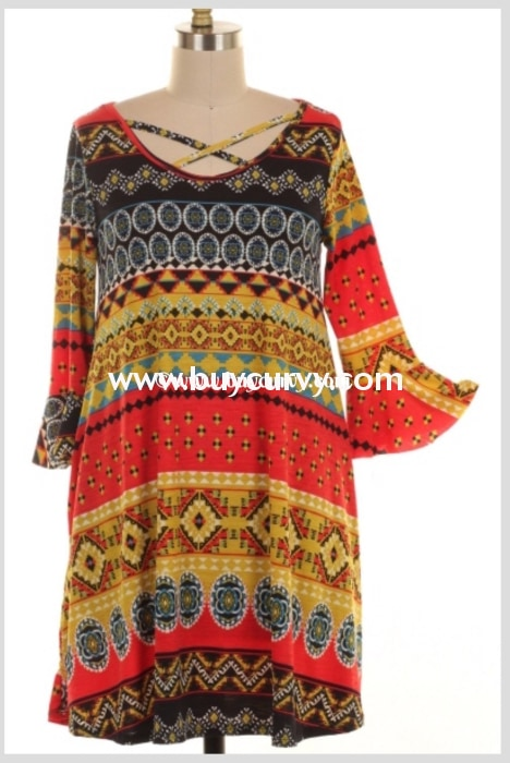 Pq-W Red/gold Ethnic Print Dress With Criss-Cross Neckline Pq