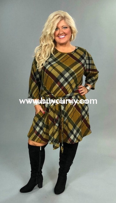 Pq-W {Rich In Mercy} Mustard Plaid Knit With Tie Belt Sale!! Pq
