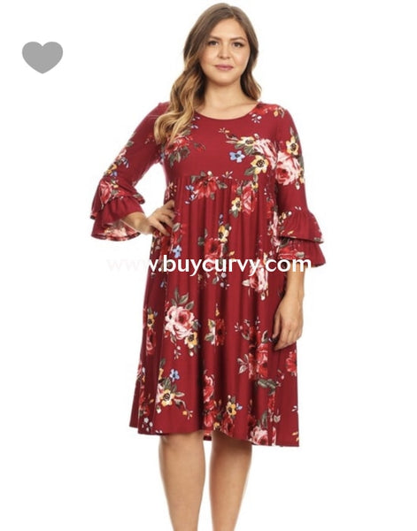 Pq-W {Southern Charm} Burgundy Floral Dress With Ruffle Sleeves (Stretchy Butter-Soft Fabric!) Pq