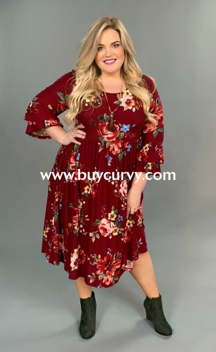 c40ac1ecbd4 Pq-W  Southern Charm  Burgundy Floral Dress With Ruffle Sleeves (Stretchy  Butter