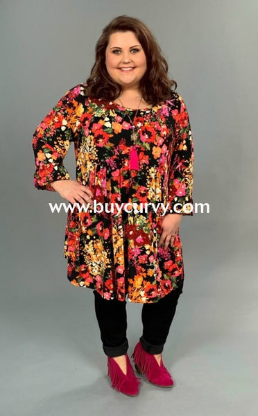 Pq-X {Best Day Ever} Floral Print Babydoll Tunic Ruffle Sleeves Pq