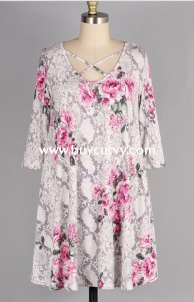 Pq-X {Come Join Me} Snakeskin Floral Print Criss-Cross Dress Pq