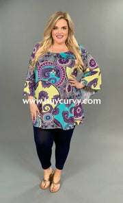 Pq-X {Never Lose Faith} Mint & Yellow Mandala Print Tunic Extended Plus Pq