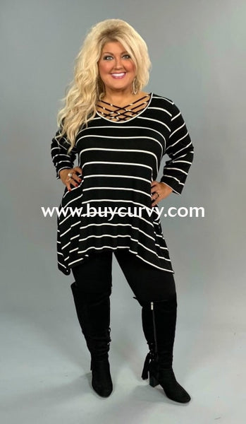 Pq-X {Perfect Weekend} Black/ivory Striped Top With Cage Neck Extended Plus Pq
