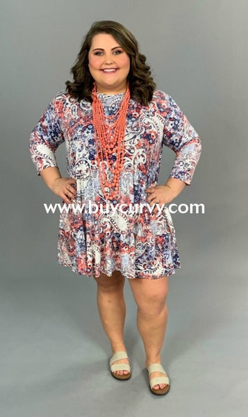 Pq-X {Signature Look} Blue Coral Paisley Babydoll Dress Pq