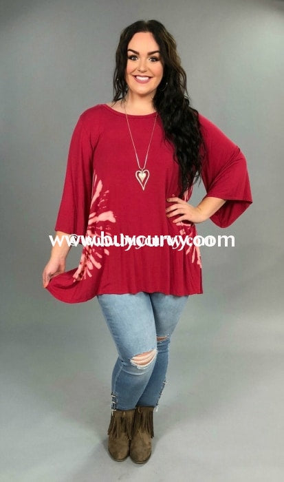 Pq-Y {Power Of Love} Burgundy Tie Dye Sides Tunic Pq