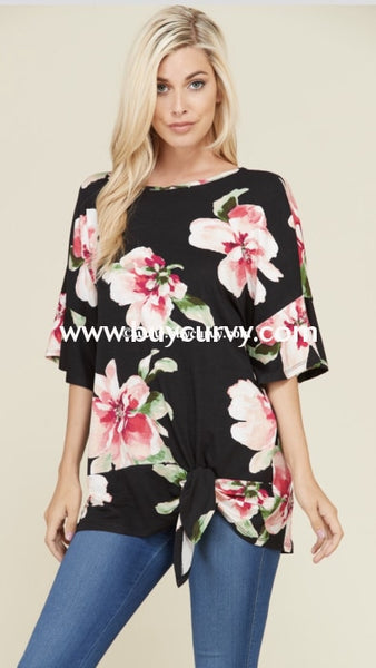 Pq-Z {Alright Your Turn} Black Floral Tunic With Side Tie Pq