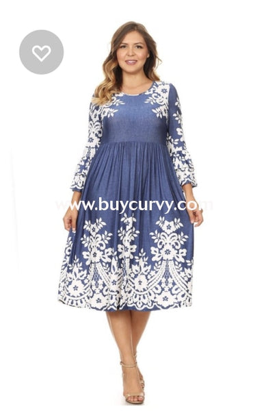 Pq-Z {Miracles Happen} Blue Dress With White Floral Print Pq