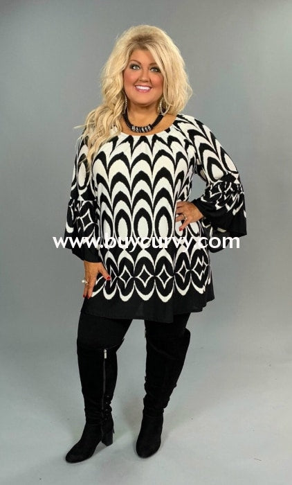 Pq-Z {My Fair Lady} Black & White Design Printed Tunic Extended Plus Pq