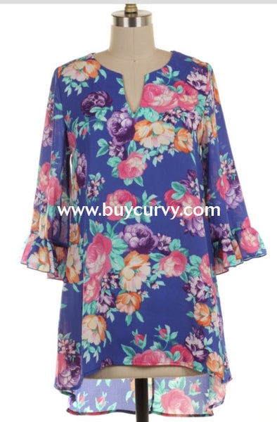 Pq-Z {Sale!!} Audience For You Blue Floral V-Neck Bell Sleeve Pq