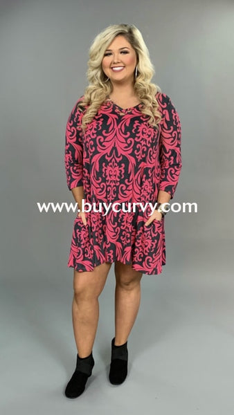 Pq-Z {Special Occasion} Fuchsia Damask Print Dress Extended Plus Pq