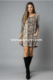 Pq-Z {Time To Escape} Snakeskin Print Dress With Pockets Pq