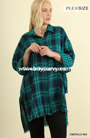 Pq-Z Umgee Plaid Frayed Hem Tunic With Side Slits Pq