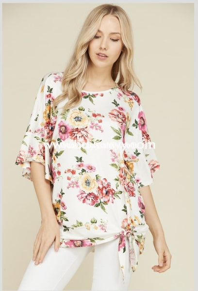 Pss-D {Flower Garden} Sale!! Ruffle Sleeve With Tie Knot Detail Pss