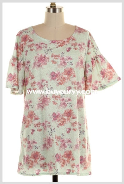 Pss-D {Limited Edition} Soft Mint Floral With Ruffle Sleeves Sale Pss