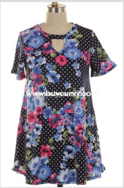 Pss-H {Cant Decide} Navy Polka-Dot Floral Keyhole Extended Plus Pss