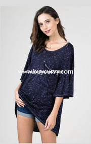 Pss-L Back Where You Belong Navy/ivory Hi-Lo Tunic Pss