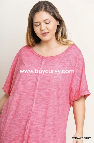 Pss-L {My Comfy Dress} Umgee Pink Dress Fringe Hem Pss