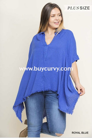 Pss-L {Summer Picnic} Umgee Blue Tunic With Frayed Hem Pss