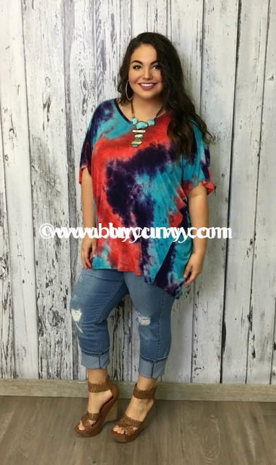 Pss-M Red-Purple-Turquoise Tie-Dye V-Neck Sale!! Pss