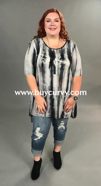 Pss-Q Elevation Gray/black Tie Dye Hi Lo Tunic Pss