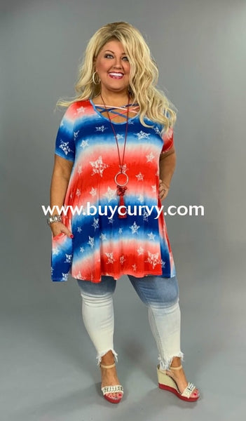 Pss-Y Red/blue Patriotic Stars Criss-Cross With Pockets Sale!! Pss