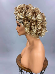 {Isabella} Short Thick Curly Brown Blonde Headband Wig