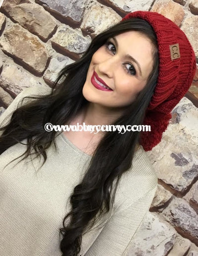 Red C.c. Beanie With Yarn Fuzzball Hats