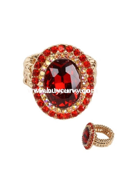 Rg- Gold Stretchy Ring With Ruby Gemstone Center Rings