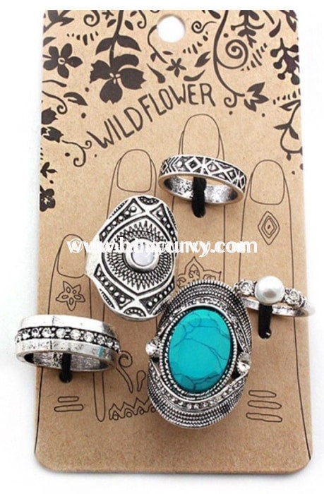 Rg-Wild Flower Teal Silver Stackable Rings Rings