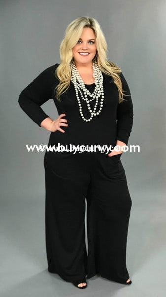 Rp {For Real} Black Wide-Leg Romper W/ Back Keyhole Detail