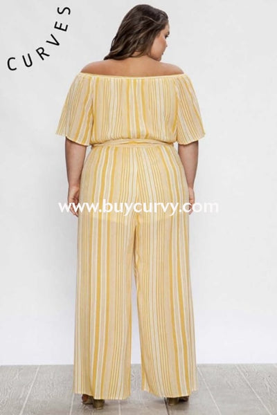Rp-S {Limited Edition} Mustard Striped Jumpsuit With Lining Romper