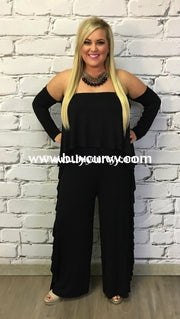 Rp-Zz Black Romper Long Sleeves With Ruffle Detail