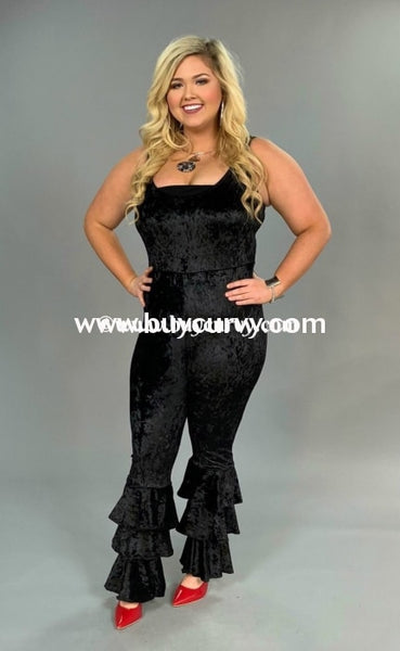 Rp-Zz Black Velvet With Layered Wide Leg Sale!! Romper