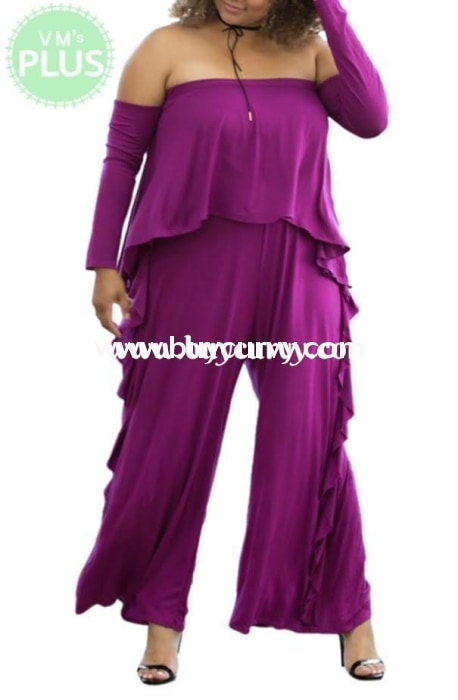 Rp-Zz Plum Romper Long Sleeves With Ruffle Detail