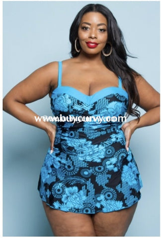 {Sale!!} Swim {Ready For A Cruise} Black & Blue Skirted Swimsuit (Runs Small) Swimwear