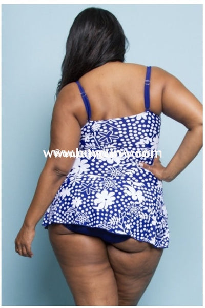 {Sale!!} Swim {Ready For A Cruise} Blue & White Skirted Swimsuit (Runs Small) Swimwear